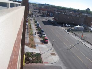 The streetscape of the Main Street Parking Garage in Pueblo is a great example of a pedestrian-friendly streetscape.